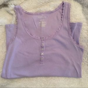 3 for 15! Lavender lace border tank with buttons